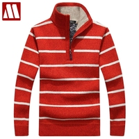 50% Off Fashion Pullovers For Man 2018 New Men's Striped Sweaters Half Zipper Knitwear Autumn And Winter Men Sweater Pull Homme