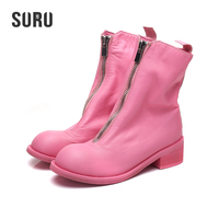 SURU Genuine Cow Leather Boots Women Ankle Front Zip Pink Low Block Heels Boots Treathable Comfortable