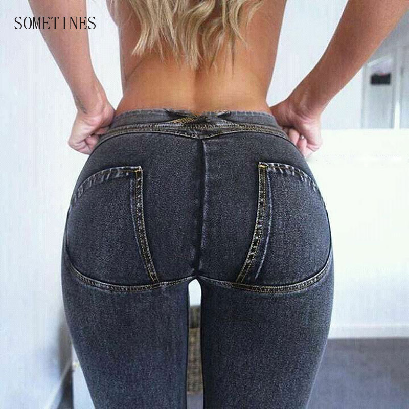 SOMETINES Elbows Fitness Leggings Elastic Plus Size Jeans For Women Black Jeans Trousers For Women Slim Sexy Denim Pencil Jeans