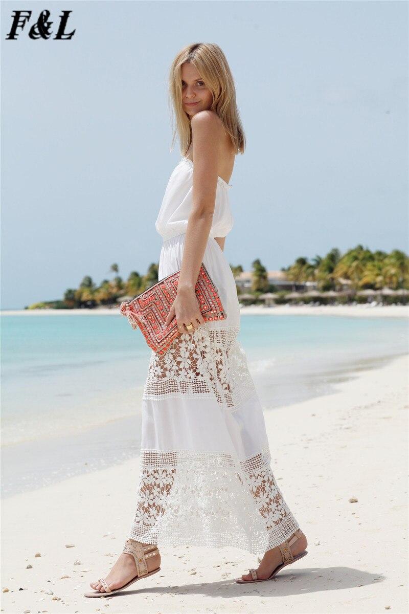 Vestidos Sexy White Beach Lace Dresses Womens Summer Boho Long Maxi