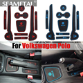 9 Pcs À Prova D' Água Durável Mat No Carro Para VW Volkswagen Polo 2012 2013 2014 LHD Látex Anti Slip Mat Pad Ranhura Portão Porta Auto Almofadas