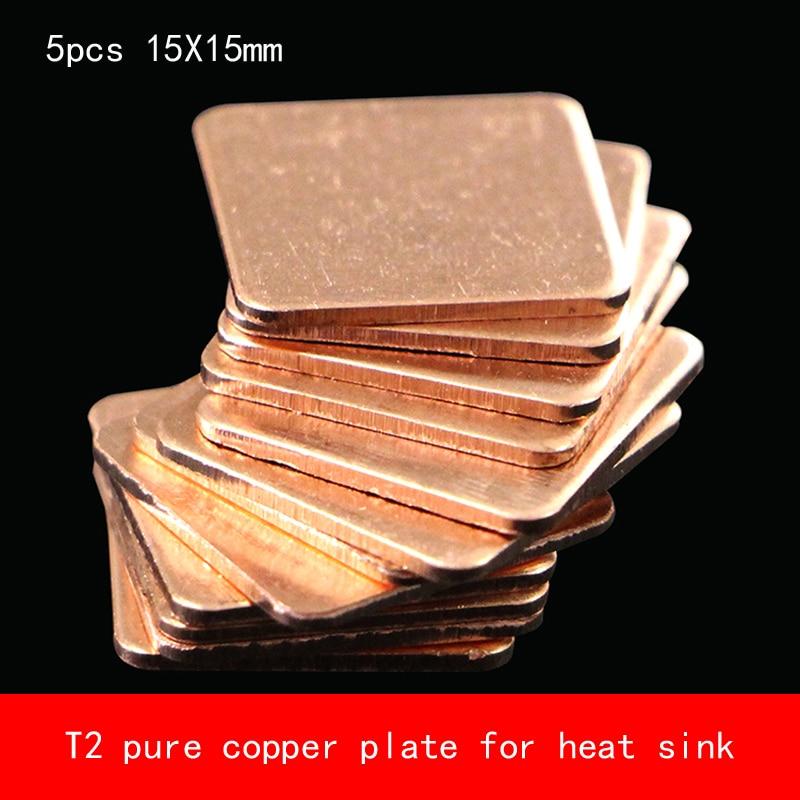 NA 5Pcs 15mm x 15mm x 0.5mm Copper Portable GPU CPU Heatsink Cooling Plate