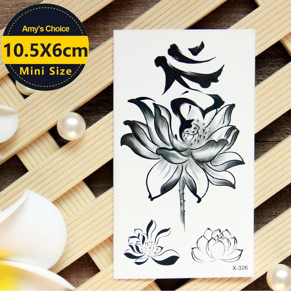 Waterproof Temporary Tattoo Sticker Chinese Lotus  Water Transfer Fake  Flash  For Men Women
