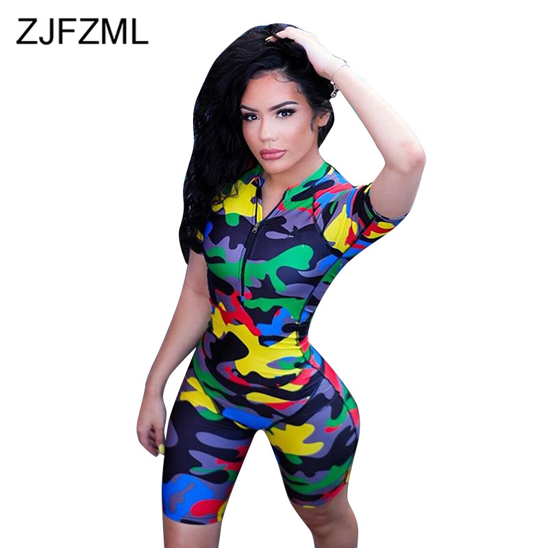 Camouflage Print Sexy Short Playsuit Women Front Zipper Short Sleeve Bodycon   Jumpsuit   Streetwear Stand Collar One Piece Overall