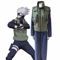 Anime Naruto Hatake Kakashi Cosplay Costume Deluxe Full Sets Halloween Outfit wig+shoes+headband+leg&waistbag+mask+glove+weapon