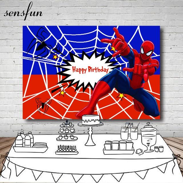 Sensfun Red Blue Spiderman Superhero Backdrop Boys Birthday Party Photography Backgrounds For Photo Studio 7x5ft Vinyl