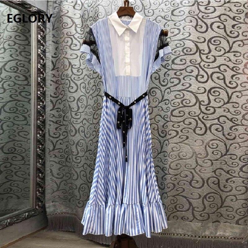 Haute qualité mode longue chemise robe 2019 été femme col rabattu perles ceinture Patchwork mi-mollet bleu rayé robe OL