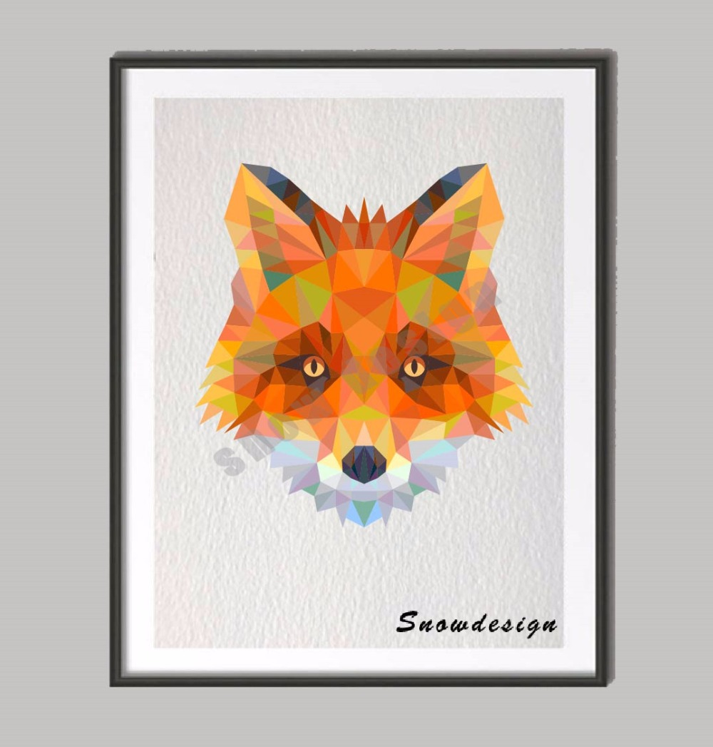 Low Poly Modern Geometric Fox Head Canvas Painting Wall Art Print Poster Pictures Living Room
