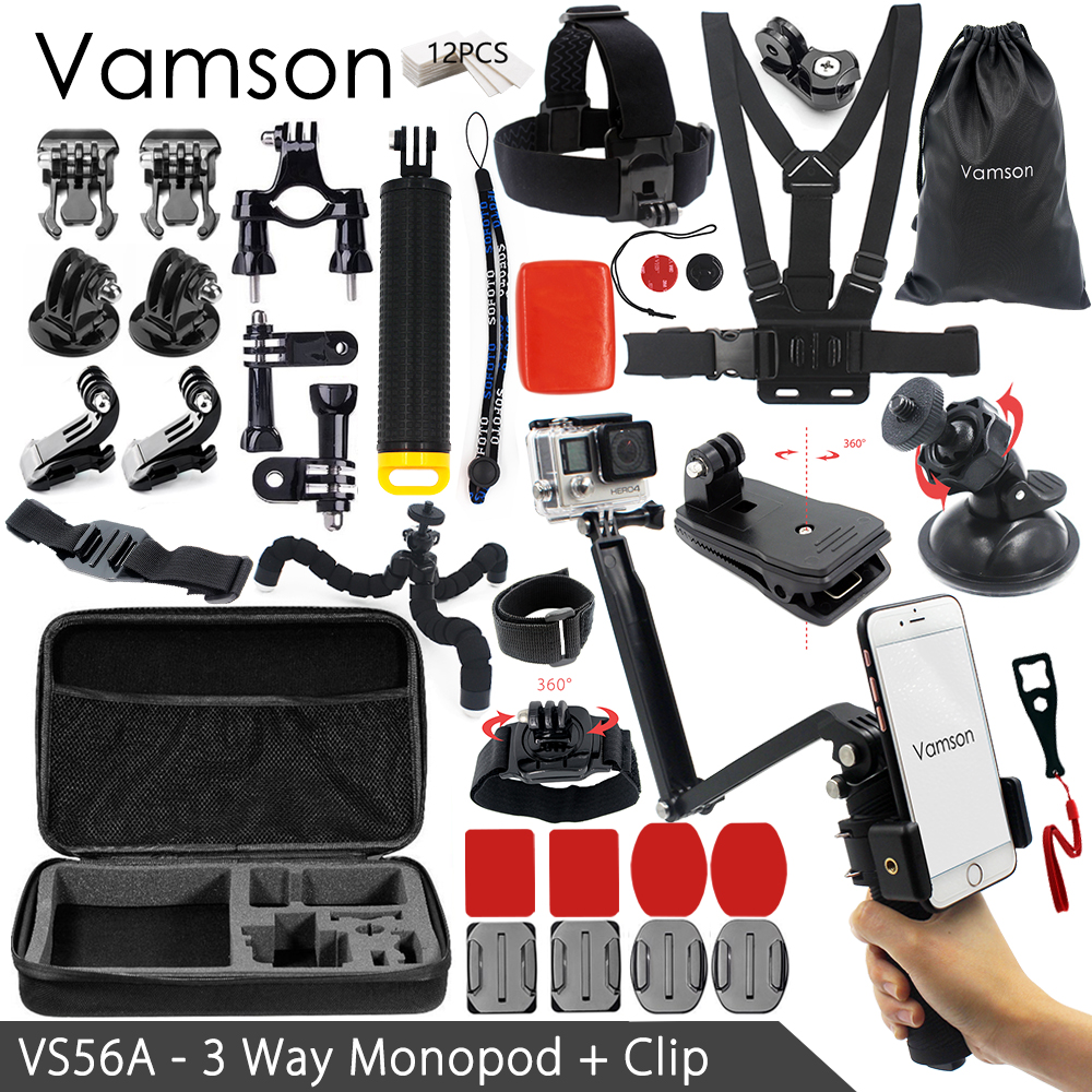 Vamson for Gopro Accessories kit for xiaom yi 4k for gopro hero 6 5 4 3 kit mount for SJCAM SJ4000 / eken h9 tripod VS56 gopro accessories head belt strap mount adjustable elastic for gopro hero 4 3 2 1 sjcam xiaomi yi camera vp202 free shipping