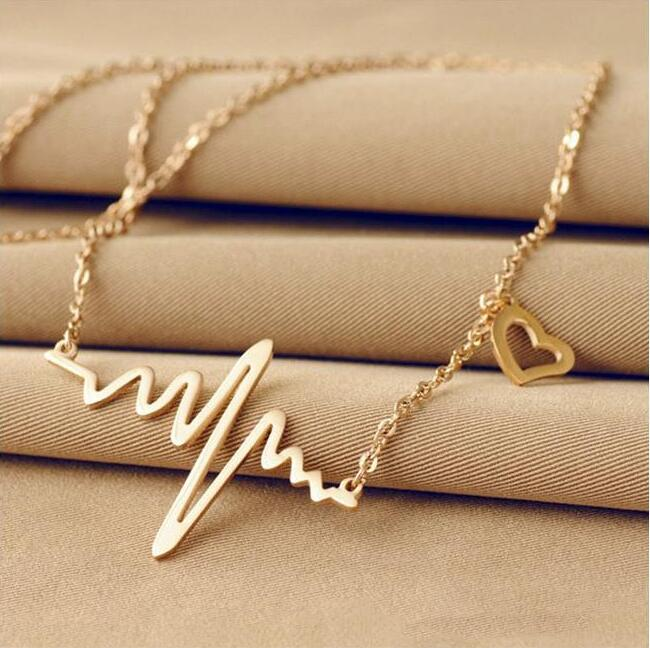 2018 New Simple Popular Electrocardiogram Necklace For Women Fashion Jewelry Clavicle Chain Collares european creative sheep goat side table nordic style log home furnishing decoration hotel restaurant bar decor free shipping