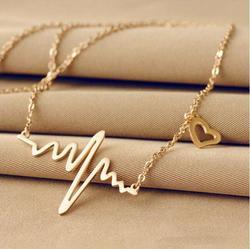 2018 neue Einfache Beliebte Elektrokardiogramm Halskette Für Frauen Mode Schmuck Schlüsselbein Kette Collares