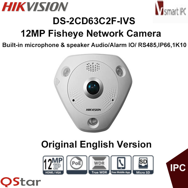 Hikvision Original English Version DS-2CD63C2F-IVS 12MP Fisheye Camera 360 Degree View Audio 1K10 IP Camera CCTV Camera change up intermediate teachers pack 1 audio cd 1 cd rom test maker