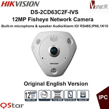 Hikvision Original English Version DS-2CD63C2F-IVS 12MP Fisheye Camera 360 Degree View Audio 1K10 IP Camera DHL Free Shipping