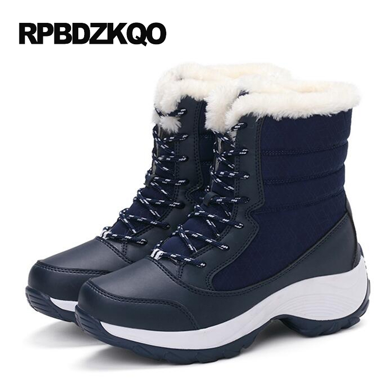 Winter Navy Blue Short Round Toe Wedge Lace Up Shoes Waterproof font b Snow b font