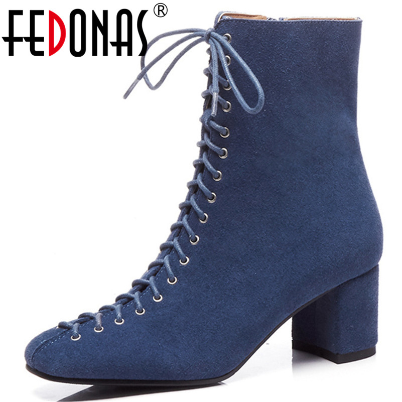 FEDONAS Retro Elegant Women Cow Suede Ankle Boots Thick High Heels Warm Autumn Winter Ladies Shoes