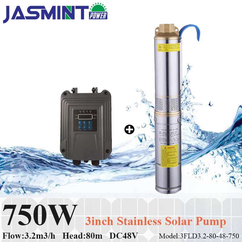 750W solar water pump DC 48V Flow 3.2m3/h, head 80m with MPPT pump controller solar water pump system for irrigation, home use