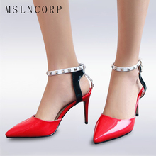 plus size 34-47 New Women Pumps Ladies Sexy Pointed Toe High Heels Fashion Buckle Ankle Rivet Strap Sandals Party Wedding shoes