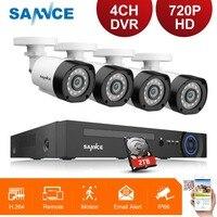 SANNCE 720P 4CH DVR Kit 1MP 4pcs Camera CCTV Security Surveillance Camera System Video Recorder IR Cut PTZ Remote Access 1080N