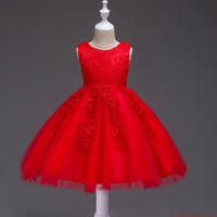 Baby Girls Lace Dress For 12 24 Months 3 10 Years Kids Cotton Lining Red Girls