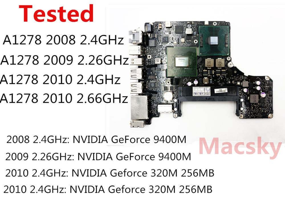 Tested Motherboard for Macbook Pro 13 A1278 2008 2009 2010 Logic Board Intel Core 2 Duo 2.26GHz 2.66GHz 2.4GHz Motherboard original logic board 820 2101 a for macbook pro 15 4 a1226 motherboard ma895 mid 2007 2 2ghz core 2 duo 2175mmb0060