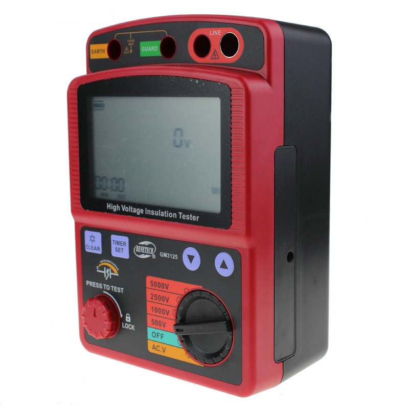 BENETECH GM3125 500V~5000V digital Insulation Resistance Tester overload Insulation megger Ohm Meter benetech gm3125 energy saving portable 12v 1 4ma voltage overload insulation resistance tester