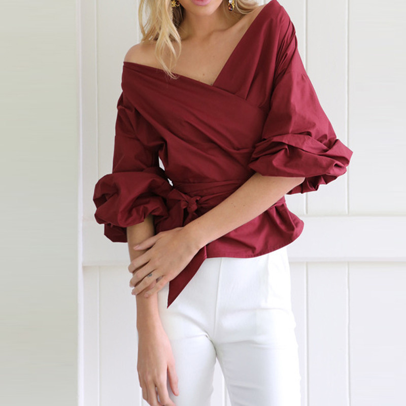 Women Fashion White Ruffles   Blouse   V Neck Ladies Elegant Tops Clothing   Shirts   Tops Female Clothes   Blouses     Shirt   with Bow Tie
