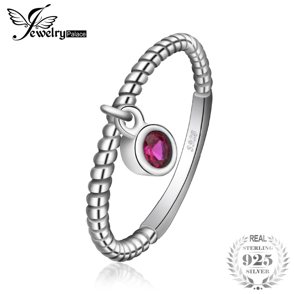 JewelryPalace 0.1ct Created Ruby Rope Stackable Ring For Women 925 Sterling Silver Brand New Fine Jewelry best gift For Women