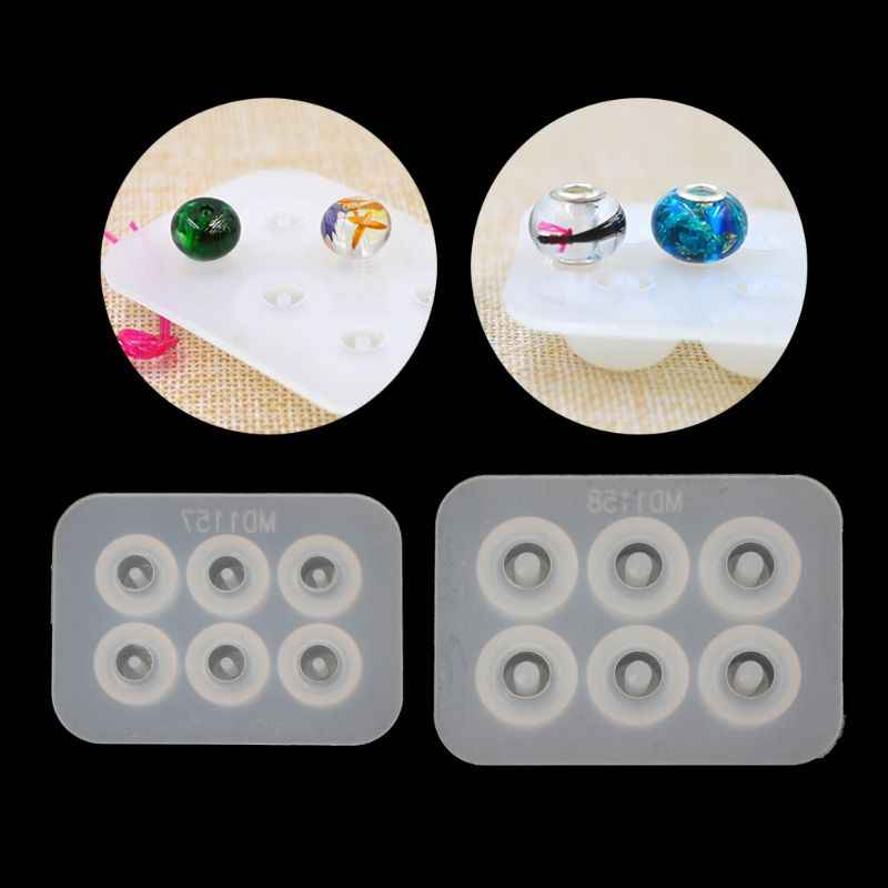 Big Hole Bead Silicone Mold Fit For Add-a-Bead Bracelet DIY Resin Jewelry Making    -W128