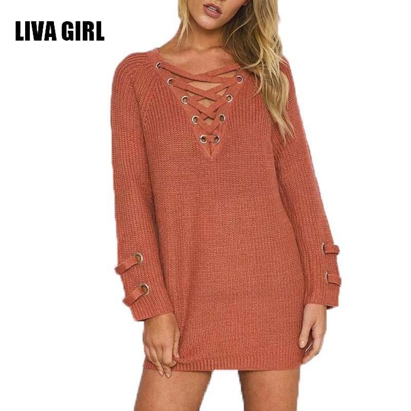 Lace up knitted winter Christmas sweater women Loose pullover Elastic waist knitwear casual winter outwear 2017 streetwear B47
