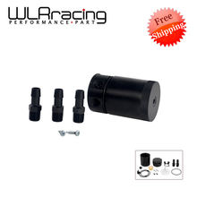 WLRING STORE FREE SHIPING- BLACK BAFFLED 3-PORT OIL CATCH CAN / TANK / AIR-OIL SEPARATOR WLR-TK66