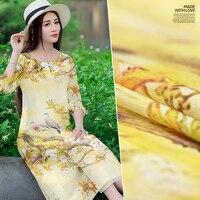 Yellow Magpie Crow Branch Silk Linen Silk And Hemp Digital Printing Silk Fabric Silk Cloth Vintage
