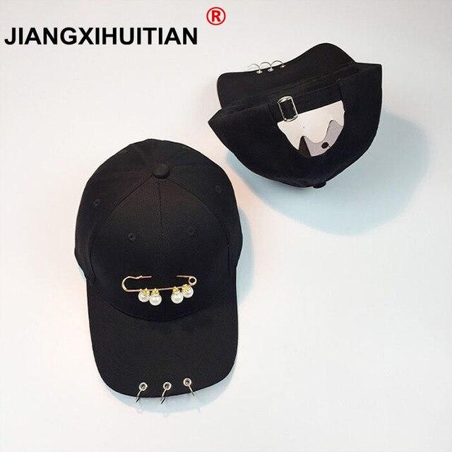 2017 Korea Fashion Mutiara Pin Bisbol Topi Wanita Musim Panas Topi Matahari  Stylish Rings Pria Snapback c49224c49f