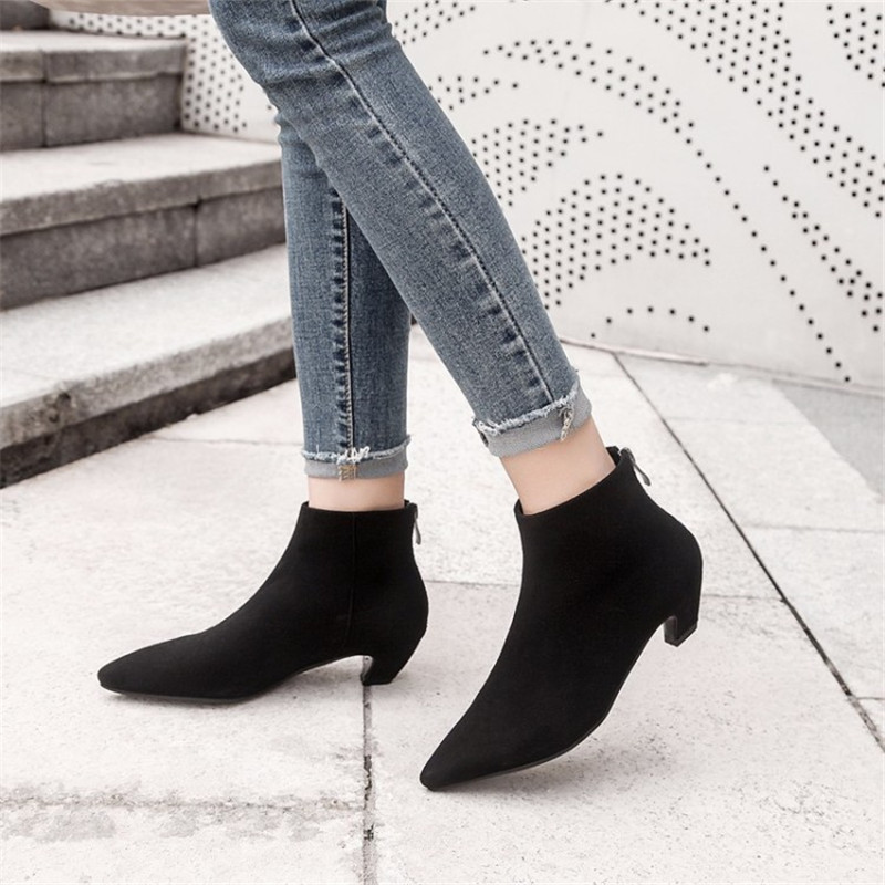 COOTELILI Ankle-Boots Chelsea Botas Women Heels Casual-Shoes Faux-Suede Pointed-Toe Female