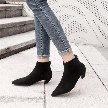 COOTELILI Ankle Boots Women Heels Casual Shoes Woman Faux Suede Leather Black Boots For Female Chelsea Botas Mujer Pointed Toe