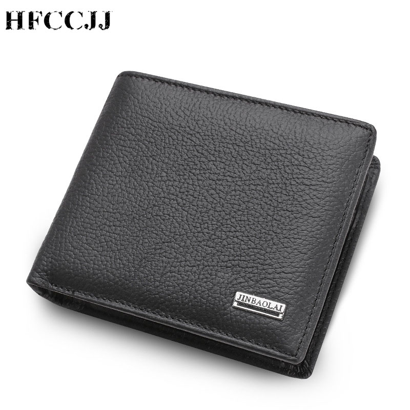 NEW Wallet Vintage Genuine Leather Men Short Bifold Wallets Card Holder Purse Coin Pocket Male Zipper Purse Carteira HC172