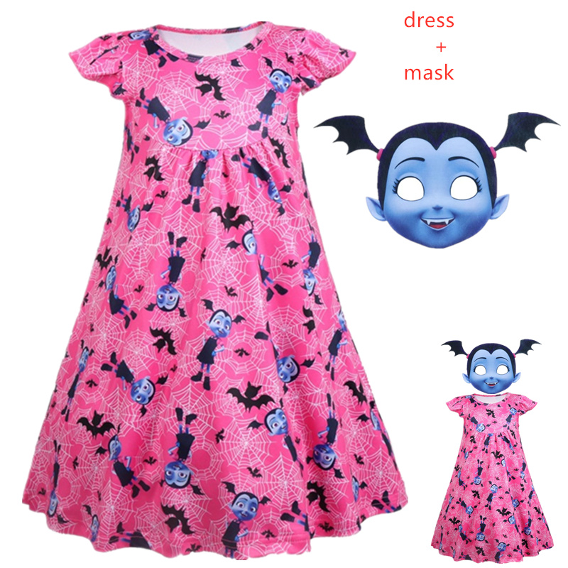 children Vampirina Costume For Girl Dress Halloween Kid Boutique Frock Child Mask Headband Up Disguise vetement Fille Cosplay in Dresses from Mother Kids