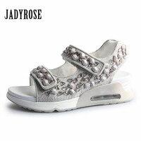 Jady Rose Casual Flat Sandals Rhinestone Decor Women Creepers Comfortable Shoes Woman Cool Beach Shoes Sandalia