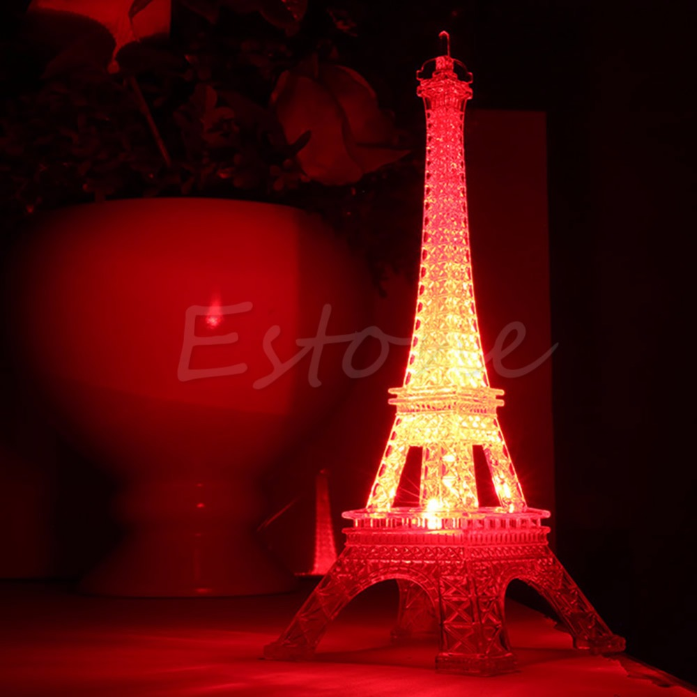 1Pc Lovely Eiffel Tower Night Light Luminaria Cute LED Art Deco Lamp Desk ննջասենյակի ձևավորում Փոքր Luminaria Mesa Lighting 2017