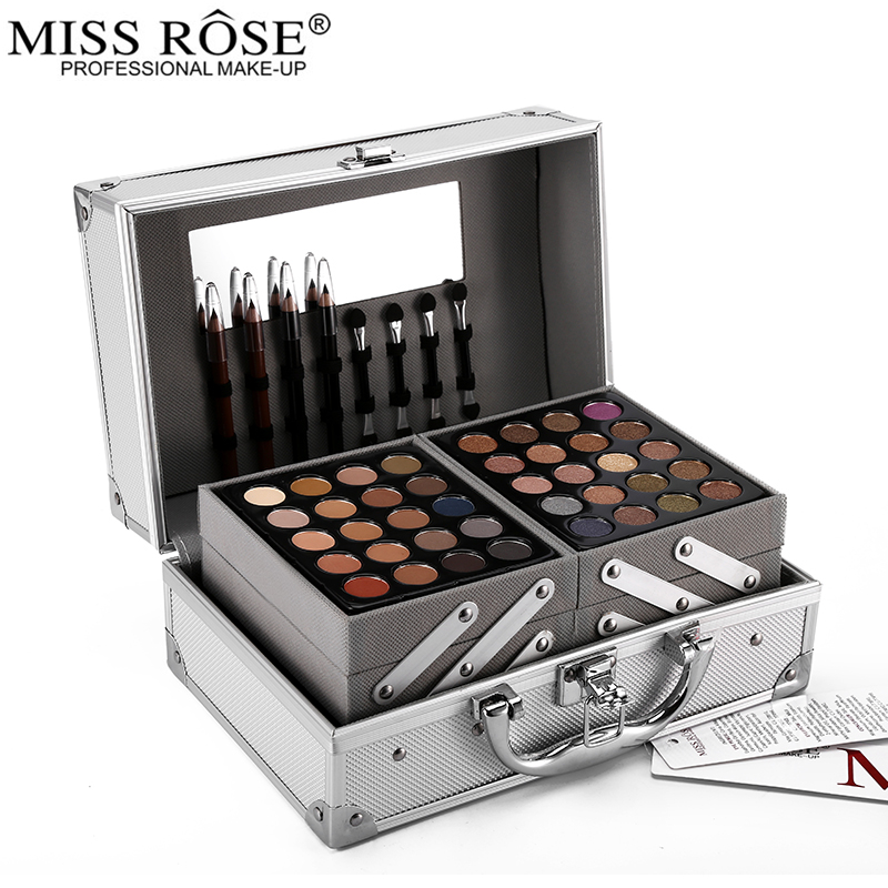 Miss rosa maquiagem paletas conjunto matte shimmer sombra rosto em pó batom blockbuster profissional compõem kit bronzer blush