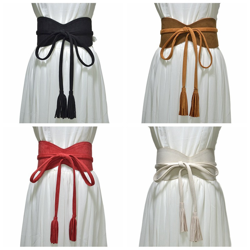 1pcs Women Charm Faux Suede Tassels Wide Belt Bow Tie Vintage Dress Skirt Waistband Fashion Clothing Accessories CLL9111