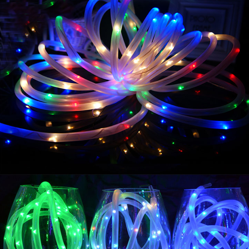 Waterproof Outdoor Garden Path Tree Fairy Lights 5M 10M LED Battery Power Rope Tube String Lights For Christmas Decoration
