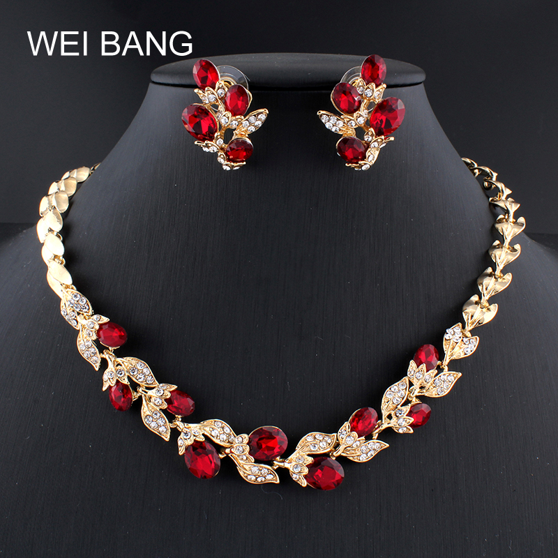 Weibang New Fashion Bridal Women Jewelry Set Crystal Rhinestone Gold Color Leaf Earrings Necklace Jewelry For Girls Party Dress