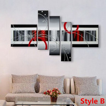 Hand Painted Abstract Lines Oil Paintings on Canvas Modern Large 5 Panel Wall Art