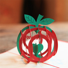 10pcs Green 3D Christmas Apple 3D laser cut pop up paper handmade postcards custom Xmas greeting cards Gifts for lover 9016G