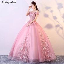 Robe de mariage роскошные свадебное платье принцессы 2018 розовый Flowes свадебное платье романтические босоножки Бальные Свадебные платья с рукавами