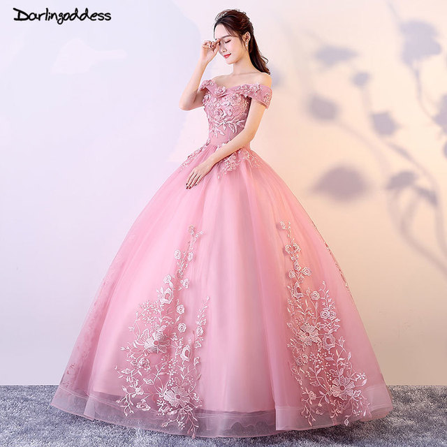De mariage Luxury Princess Wedding Dresses 2018 Pink Flowes Bridal Gown Romantic Lace-up Ball Wedding Gowns with Sleeves