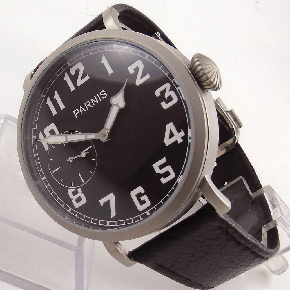 Sandblast 46mm PARNIS Black dial White Numbers Luxury Brand Brushed hand Winging 6497 Movement Men's Wrist Watch цена и фото