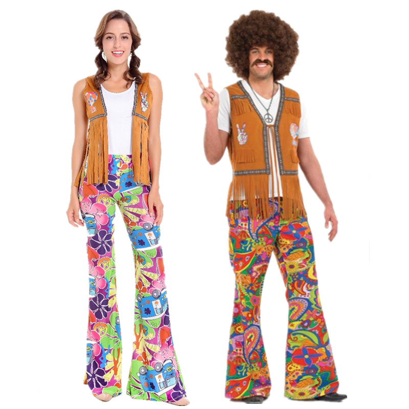 Flared Trousers Ladies Green Womens Adult 60s 70s Hippy Hippie Disco Fancy Dress