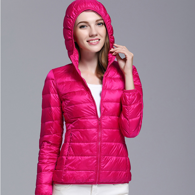 12 Color Options, Women's Long Sleeve Hooded   Down     Coats  , Warm Ladies   Down   Jackets, Slim Warm and Comfortable Size S-3XL