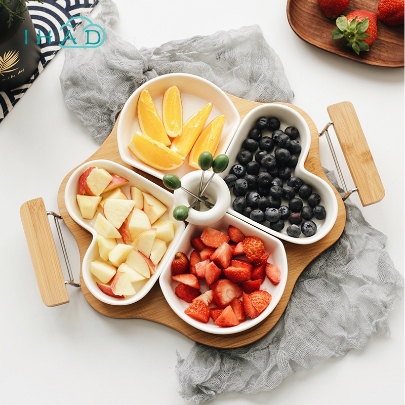 Family Set Fruit Plate ceramic Candy dried fruit organizer storage box share food with famliy enjoy afternoon tea